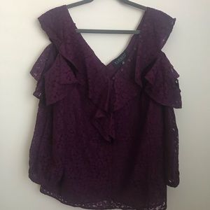 NWT Cold Shoulder Eloquii Lace Eggplant Blouse
